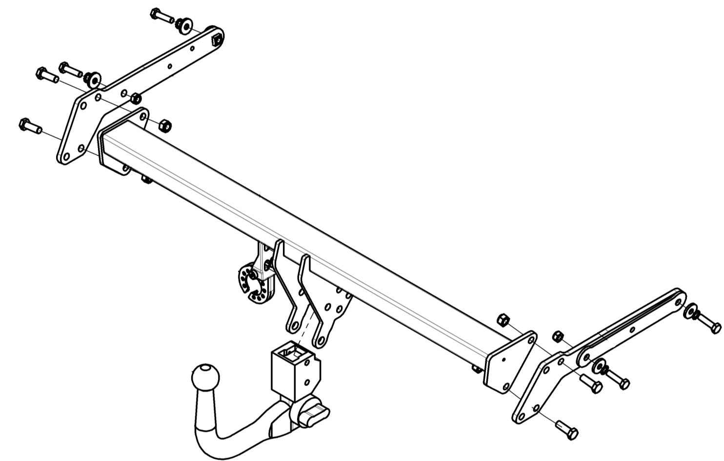 Detachable Swan Neck Towbar for Ford Focus IV Hatchback 09